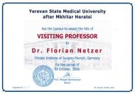 Visiting Professor at the Yerevan State Medical University